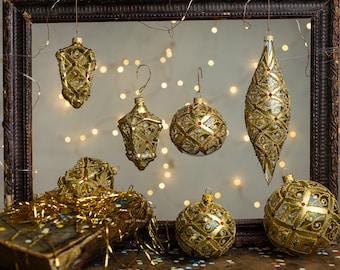 Gold Christmas glass ornaments, Handmade painted ornament, Glitter Christmas figurines, Unique Xmas tree decor