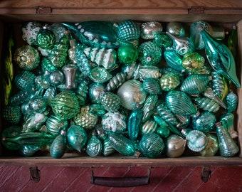 Assorted green glass decor, 1950s Soviet Christmas tree, vintage bohemian ornaments, retro xmas decorations