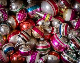 Stripe Christmas ornaments, vintage decoration, 1950s Christmas, assorted stripe glass ornaments, balls, icicles, Xmas antique,