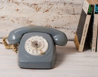 Rotary phone retro phone gray rustic industrial home decor vintage office working dial phone telephone vintage plastic Soviet