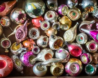 Vintage Christmas ornaments, 1950s christmas decoration, Indent ornament, custom set, glass vintage shiny Christmas tree  Holiday decor