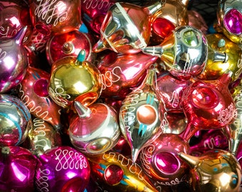 Assorted glass Christmas bubbles, vintage glass Christmas decorations