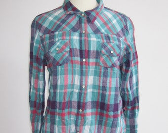 Purple and Green Vintage Checked Shirt