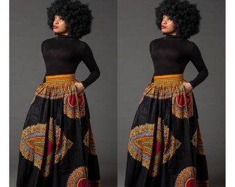 c38dfe35b3 Black Dashiki African maxi skirt, African print skirt for women, Ankara maxi  skirt, African skirt, long skirt, African print skirt, MARCIA