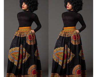 91d5e905813 Black Dashiki African maxi skirt