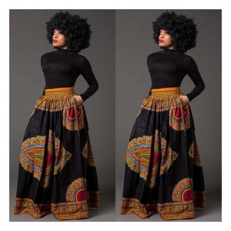 1b736fe73b Black Dashiki African maxi skirt African print skirt for | Etsy