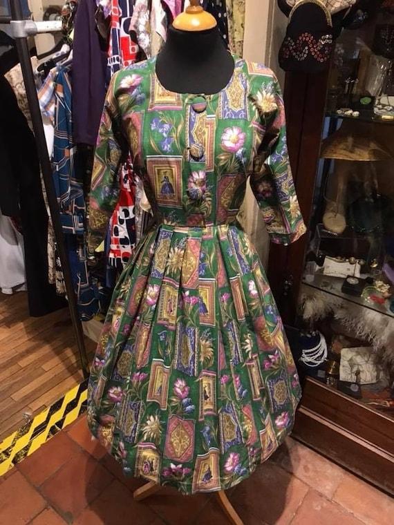 Fab 1950s volup novelty print day dress