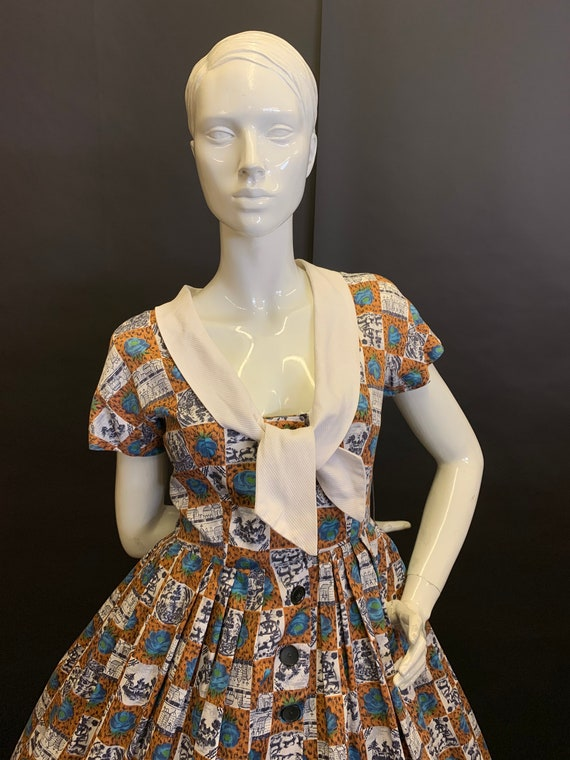 50's novelty print dress - image 2