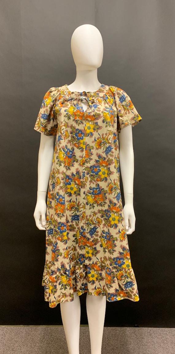 70's cotton smock shape dress