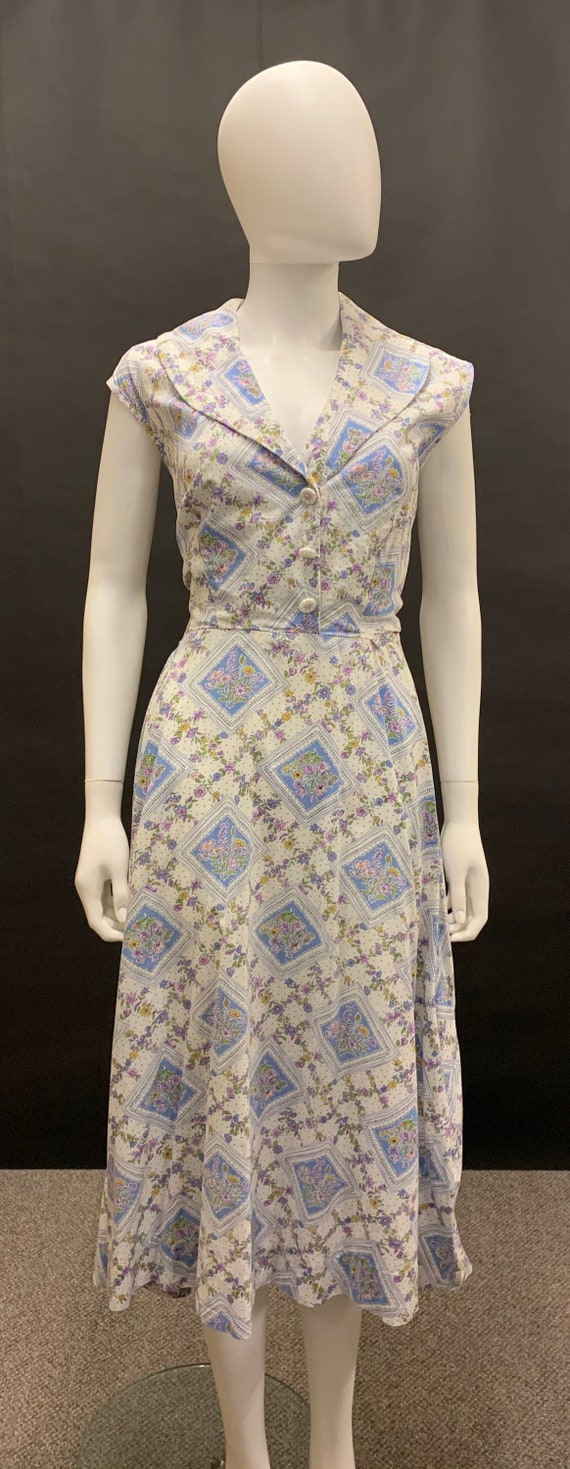 1940s cotton day dress