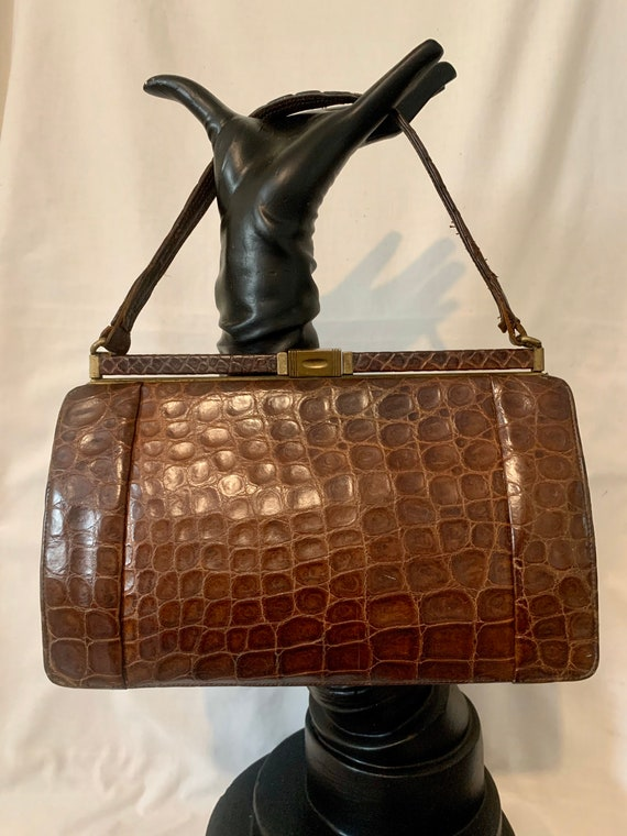 1940s crocodile handbag