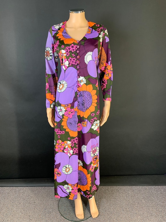 Fab volup 1970s maxi dress - image 1