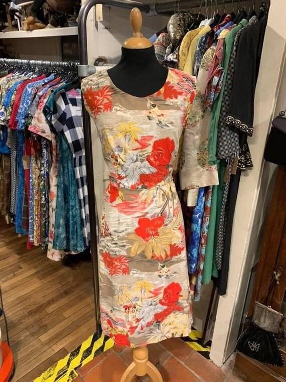 Wonderful volup 1950's Hawaiian print dress