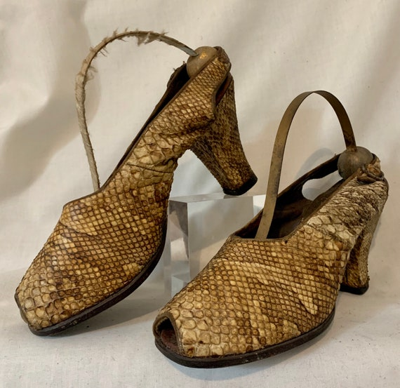 1940s snakeskin sling backs