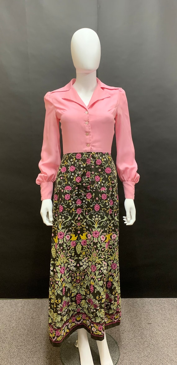 Gorgeous 70's shirt waisted maxi dress