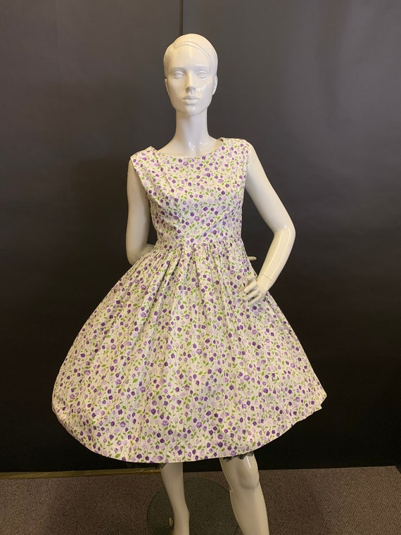 50's cotton rose print dress