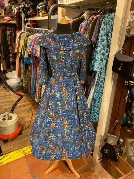 Gorgeous 1950s abstract novelty print cotton day d
