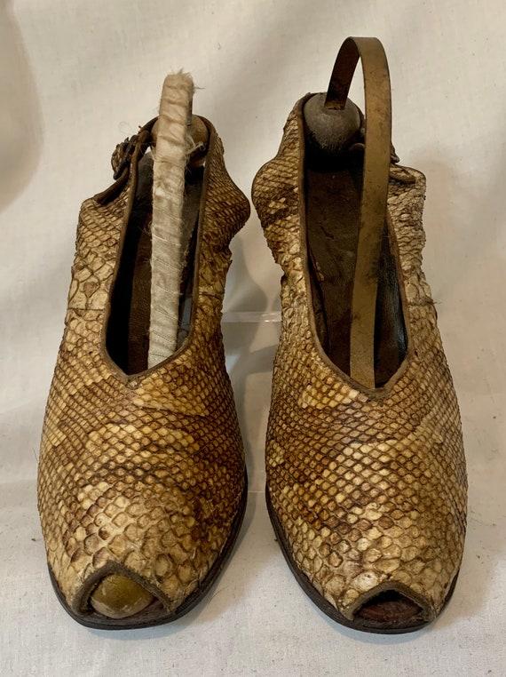 1940s snakeskin sling backs - image 2