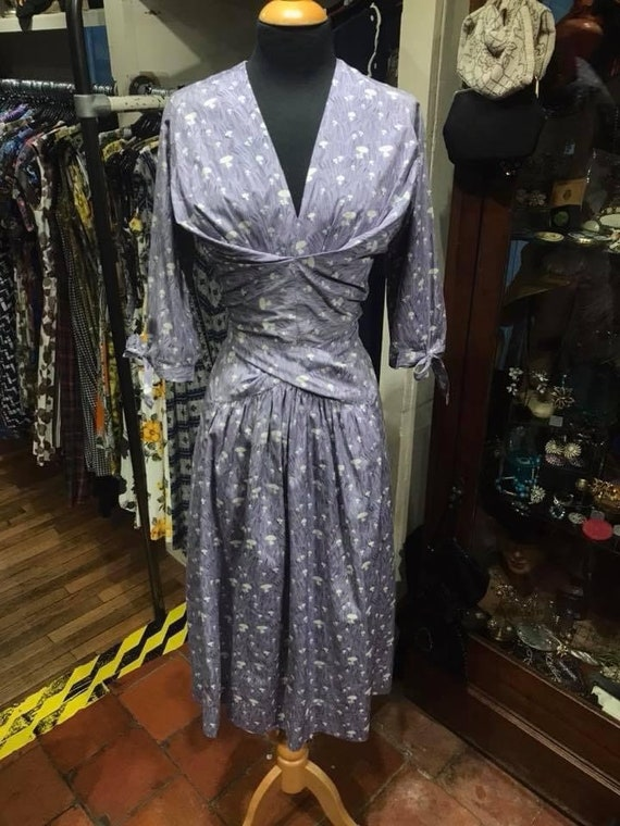"Gorgeous novelty print 1950s ""horrockses"" day dres"