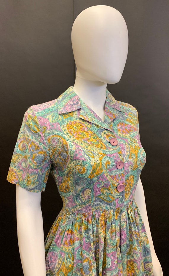 1940s cotton day dress - image 3