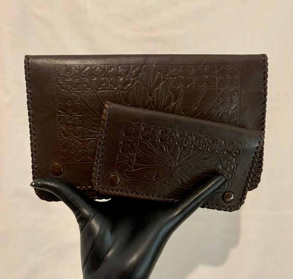 30's tooled leather bag and purse