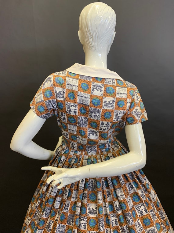 50's novelty print dress - image 4