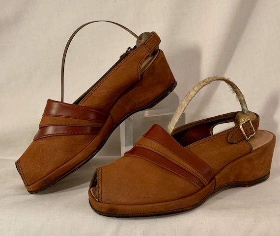 1940s suede wedges