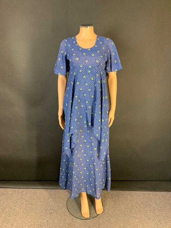 1970s Silky Blue Mandarin Collar Maxi Night Dress Size M