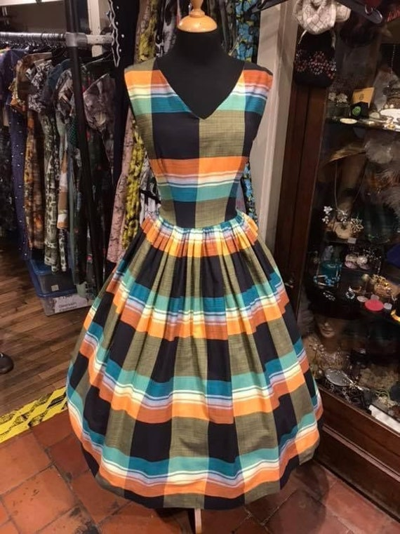 Fantastic plaid 1950s day dress