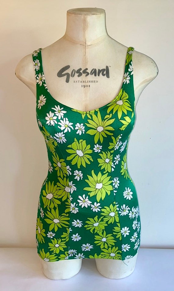 60's floral swimsuit