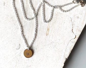 Mixed Metal Heart Necklace - Disc Charm - Heart Stamp - Sterling Silver - 14K Gold Filled - Dainty Necklace - Silver and Gold