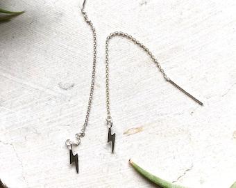 Lightning Bolt Sterling Silver Threader Earrings - Sterling Silver Threaders - Lightning Bolt Earrings - Threader - Dangle Earrings