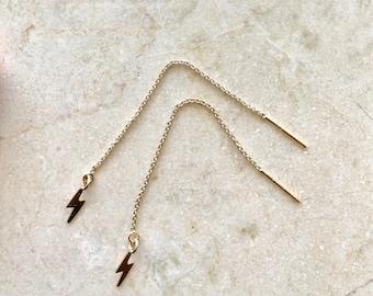 Lightning Bolt 14K GF Threader earrings - yellow gold - earrings - lightning bolts - threader - dangle earrings