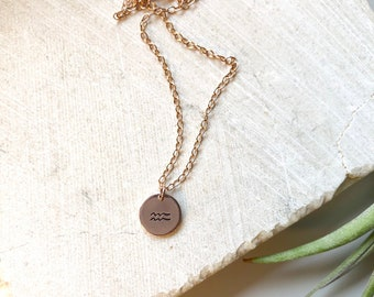 Custom Zodiac Rose Gold Filled Charm Necklace - 14K Rose Gold Filled - Timy Rose Gold Disc - Small Circle charm
