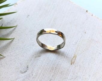 Thick Sterling Silver/Rose Gold Filled Rustic Band - Raw Ring - two tone - sterling silver ring - size 6.5