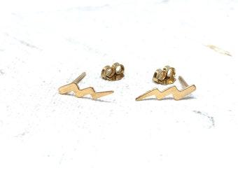 14K Gold Filled Lightning Bolt Earrings - Tiny Earrings - Dainty Earrings - Minimalist - Lightning Bolts
