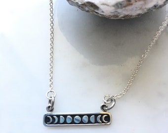 Moon phase sterling silver necklace - crescent moon - sterling silver bar necklace - moon phase