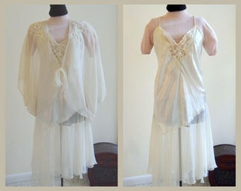 f09d1e925a White satin nightgown and robe by Victoria s Secret. Vintage 1990s Romantic  Nightgown. Peignoir set