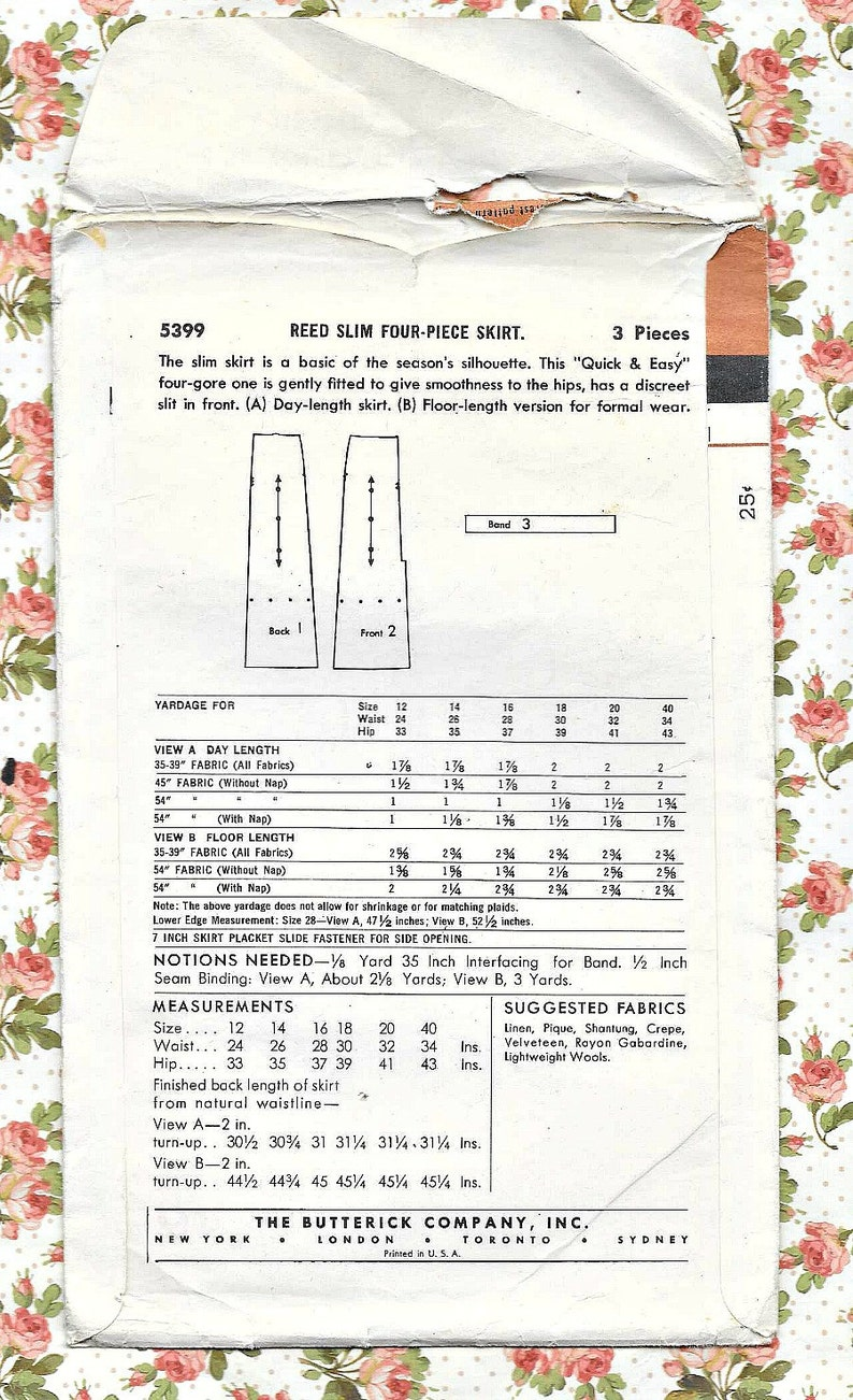 Front Vent 50s  VINTAGE SLIM SKIRT Sewing Pattern Gently Used Easy Butterick 5399 Back Zip Size 16 Waist 28 Hip 37-2 Lengths