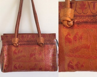 ff26fa1744b3fb Vintage 70s Indian Tooled Ethnic Boho Leather Handbag Medium Rustic Shoulder  Bag Tan Raw Animal Print 2 Straps Hippie Bag