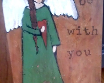 Peace be with You :Original Acrylic on Wood Painting