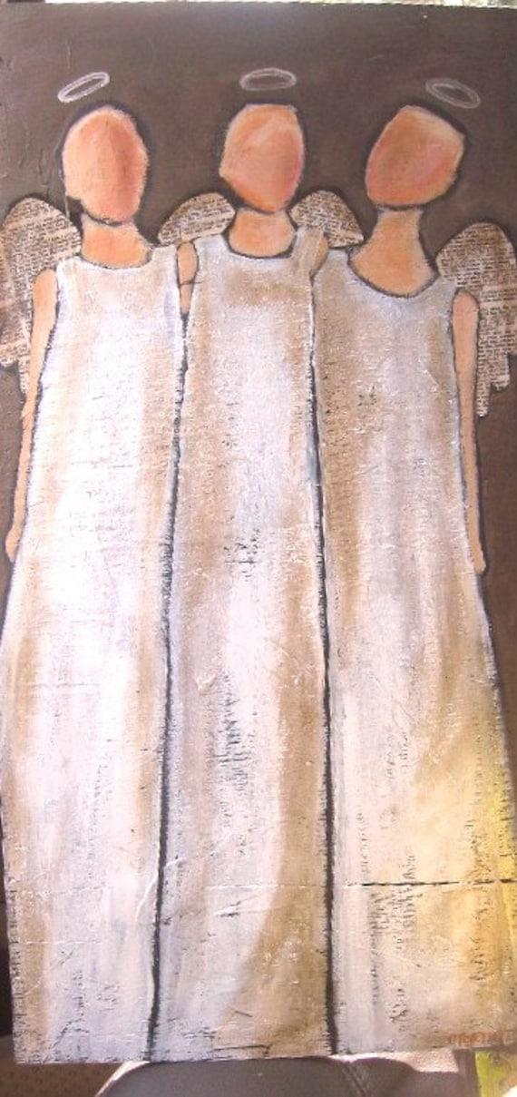 Die Dreifaltigkeit 3 Engel Original Acryl Auf Holz Malen Etsy