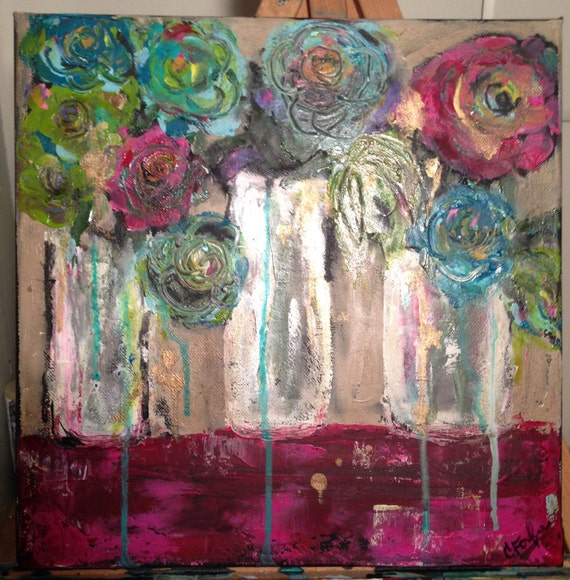 Abstract Funky Flowers Acrylic Painting