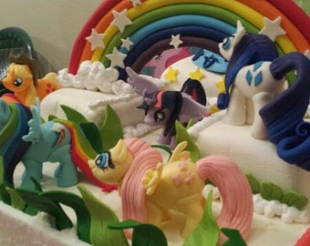 3D  My Little Pony Fondant toppers. Rarity, Rainbow Dash, Fluttershy, AppleJack, Pinkie Pie, Twilight Sparkle. Have an Amazing Cake!