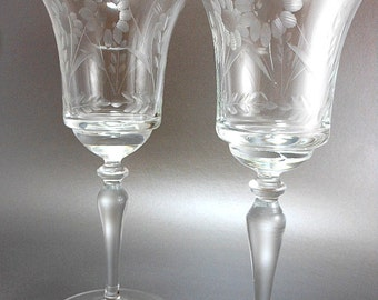 Wine or Water Goblets with Etched Flower Design Set of 2