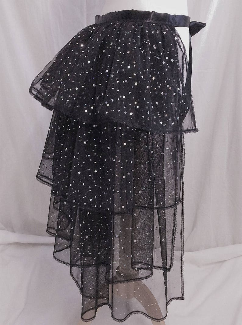 b8a409e855 Adult Ladies Long Black Sparkly Bustle Net Lace Over Skirt   Etsy