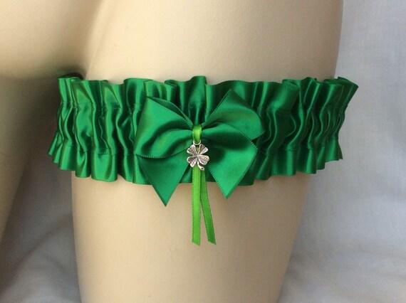 New Wedding Garter Apple Green White Wedding Garter Prom Four Leaf Clover Shamrock