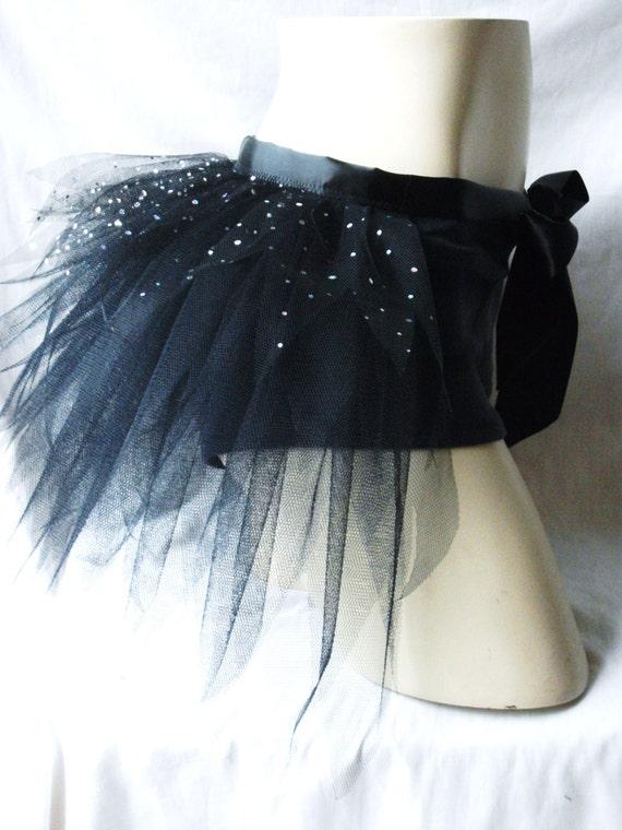 Adult Ladies Black Turquoise Blue Half Tutu Bustle Net Over Skirt