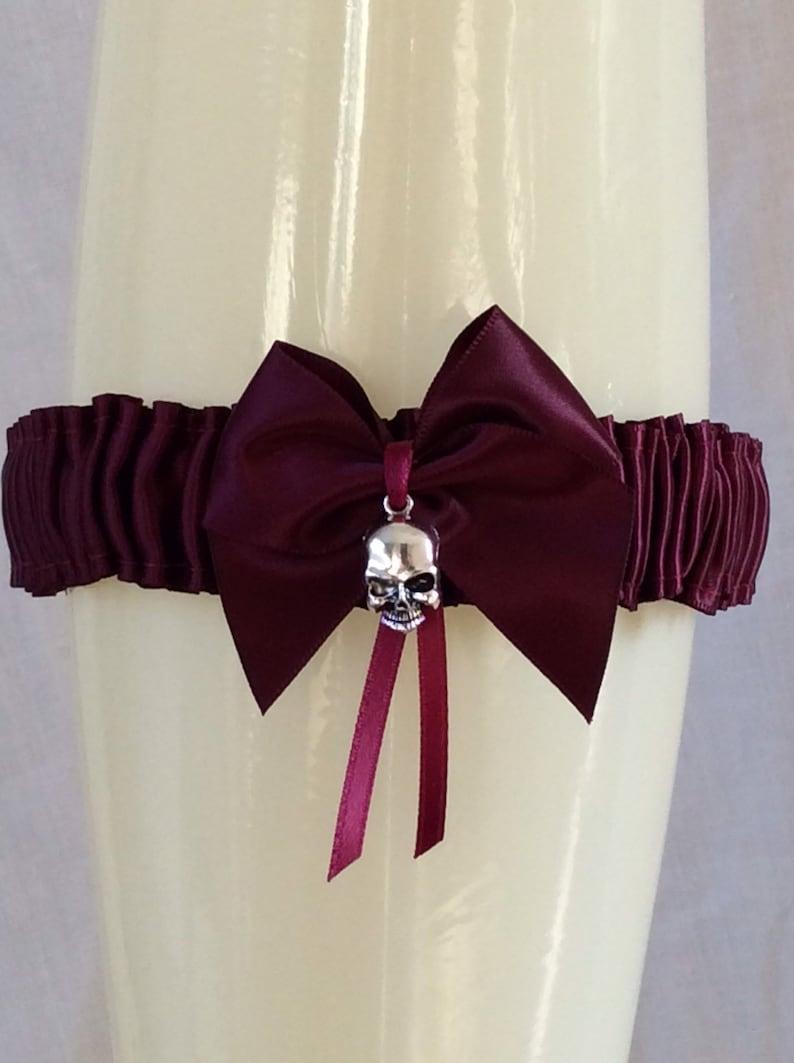 Black Navy Blue Dark Purple Red Burgundy Skull Garter