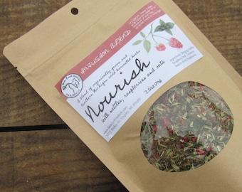 Nourish Herbal Tea- Nettles, Oatstraw, and Raspberry Leaf Tea - Organic - Wild Harvested - Decaffinated - female tonic
